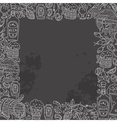 Beer doodle square frame vector image