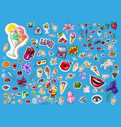 big set of cute funny comic cartoon object vector image