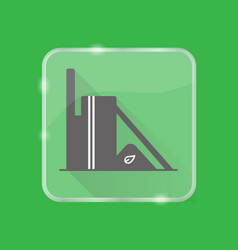 Biomass power station silhouette icon in flat vector