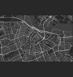 Black and white modern city map amsterdam vector