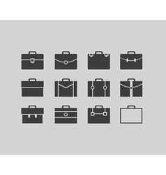 black briefcase icons set background vector image