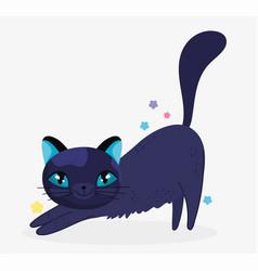 black cat stretching domestic cartoon animal cats vector image
