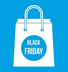 Black friday shopping bag icon white vector
