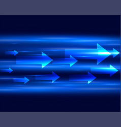 blue light streak with arrows moving forward vector image