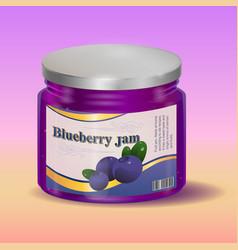 blueberry jam in jar vector image