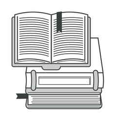 books pile or textbooks stack with bookmarks vector image