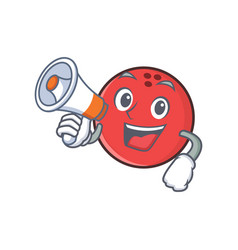 Bowling ball character cartoon with megaphone vector