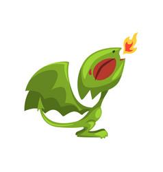 Cartoon fire breathing dragon green fairy tale vector
