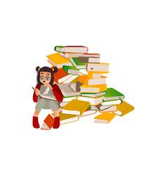 Cartoon girl reading book sitting book pile vector
