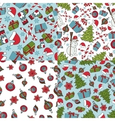 Christmas samless patternsWinter doodles symbols vector image