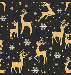 christmas seamless pattern with reindeer vector image