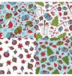 christmas seamless patternswinter doodles symbols vector image
