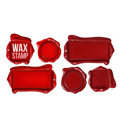 collection of red wax stamp set copy space vector image