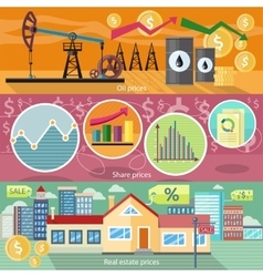 Concept of Real Estate Price Oil and Shares vector image