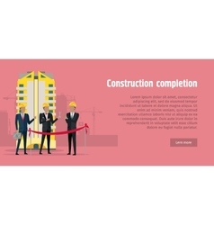Construction Completion Building Design Web Banner vector image