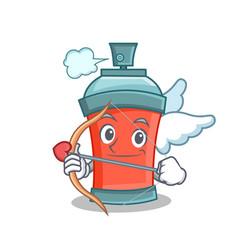 Cupid aerosol spray can character cartoon vector