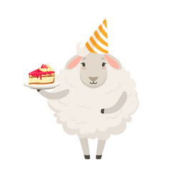 cute white sheep character wearing party hat vector image
