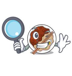 Detective jajangmyeon in a cartoon shape vector