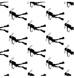 diver silhouette seamless pattern vector image