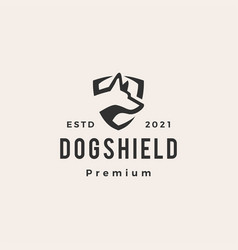 Dog shield hipster vintage logo icon vector