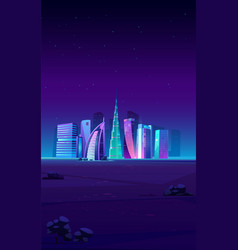 dubai uae skyline with world famous buildings vector image