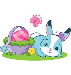 easter bunny with holiday basket vector image