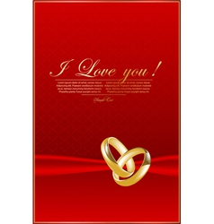 Elegant red background with rings vector image