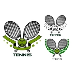 Emblems of crossed tennis rackets with balls vector image