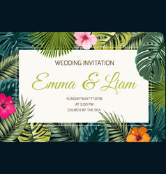exotic tropical jungle wedding event invitation vector image vector image
