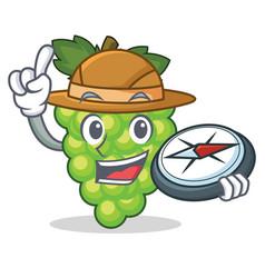 explorer green grapes mascot cartoon vector image vector image