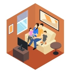 Family At Home Isometric Design vector image vector image