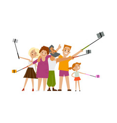 Family members parents and children make selfie vector