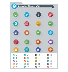 Flat organizer elements icon set vector