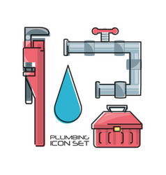 flat set icon tools plumbing vector image