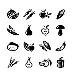 fruit and vegetables icon set for web vector image