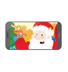 funny santa claus taking a selfie in his workshop vector image