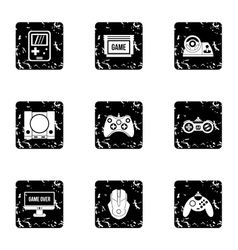 Game online icons set grunge style vector