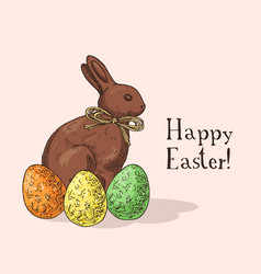 Hand drawn easter gift card with chocolate rabbit vector