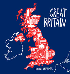 hand drawn stylized map united kingdom vector image