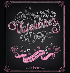 happy valentines day backgroun retro design vector image