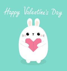 happy valentines day white baby rabbit hare puppy vector image