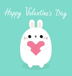 happy valentines day white barabbit hare puppy vector image