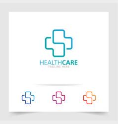 health care logo healthcare line art logo vector image