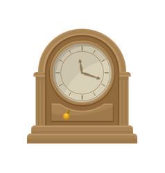 icon of antique wooden table clock with golden vector image