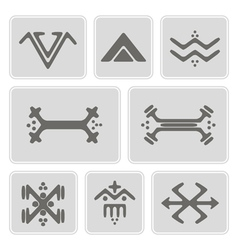 icons with Touareg tattoo symbols vector image