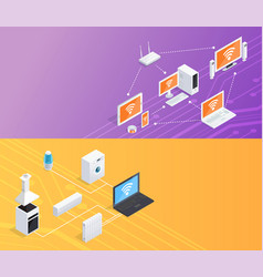 Internet things isometric banners set vector