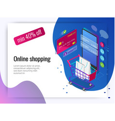 Isometric smart phone online shopping concept vector