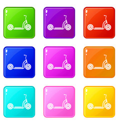 Kick scooter set 9 vector