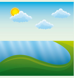 landscape in mountains river sun natural scene vector image