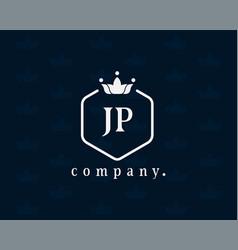 Letter jp j p luxury royal monogram logo design vector